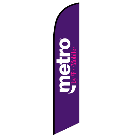 Metro by T-Mobile Feather Flag Banner For Outdoors & Indoors CFF-601634- Advertising Banner Flag - Swooper Flag