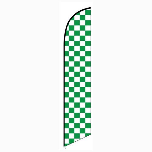 Solid Green and White Checkers Feather Feather Flag Banner For Outdoors & Indoors CFF-5046F- Advertising Banner Flag - Swooper Flag