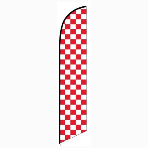 Solid Red and White Checkers Feather Feather Flag Banner For Outdoors & Indoors CFF-5046E- Advertising Banner Flag - Swooper Flag